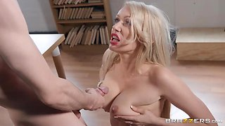 Preppie enjoys motorboating teacher's boobs and licks juicy ass hole