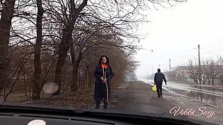 Flashing Pussy In A Public Place And Masturbating In The Car - Vikkisexy
