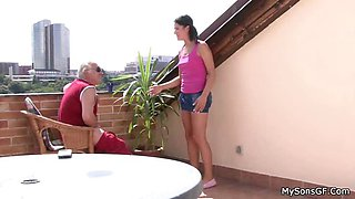 Dad has taboo fun on balcony