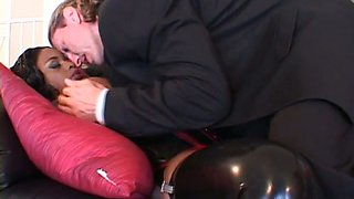 Dirty juggy harlot in latex outfit gives deepthroat blowjob