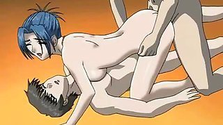 Rough anime porn with girl fucked off by many rods