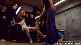 Several kinky guys finger fuck and toy pussy of tied up Japanese Karin Yazawa