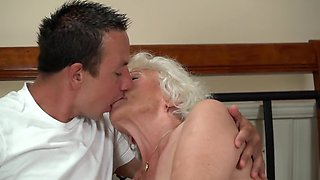 Old woman finds a young lover who brings her to bright orgasms