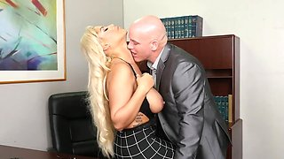 Blonde secretary needs to complete all of the tasks that her boss demands