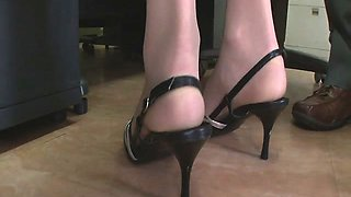 Stunning, sexy and long legged secretary teased, fondled