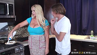 Blonde Milf Sucks His Cock In The Kitchen