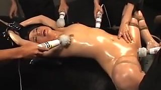 Lovely tied up and oiled Asian girl squirts like a slut