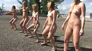 Five crazy girls are punished to eat each others cunt