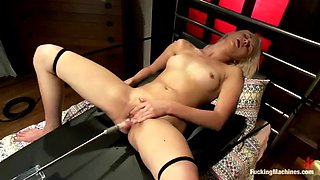 hot blonde babe gets multiple orgams thanks to fucking machine