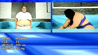 Extremely huge SBBW brunettes wrestle naked and oiled up