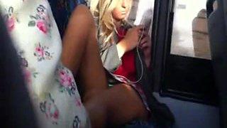 Schoolgirl upskirt on bus