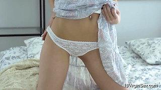 18 Virgin Sex - Brunette beauty Vikki drops her panties