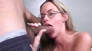 Big titted blonde Nikki Lynn gets jizz on her glasses