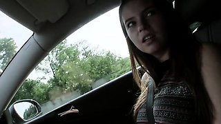 Busty hitchhiking cutie fucks driver outdoors