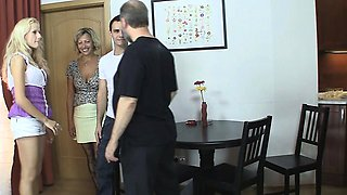 Blonde girl involved into 3some with his olds