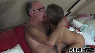 Sweet Teen Fucked By Old man She Swallows cum and deepthroats