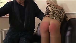 Blonde babe spanked and paddled for coming home drunk