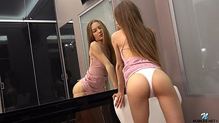 Libidinous babe Jolie A is playing with sex-starved pussy