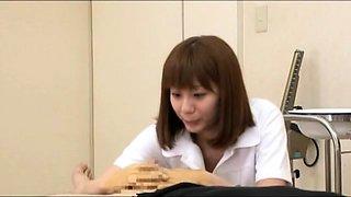 Insatiable Japanese nurse sucks and fucks a thick cock