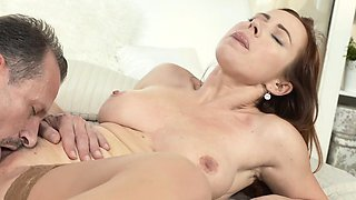 MOM Redhead milf in stockings has the fuck of her life