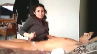Indian housekeeper rubbing my dick and making out with me