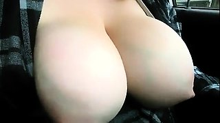 Big Tits Lactating in vehicle
