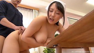 Busty Japanese brunette wife Tsukimoto Ai masturbates and sucks a cock