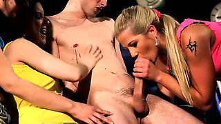 Teen bride sucks on stripper\'s cock at CFNM party and