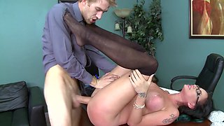 A hot lady that loves to play rough is fucked in the office