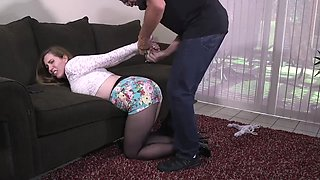 Samantha Grace Escaped Burglar tied up tight in the tight shorts