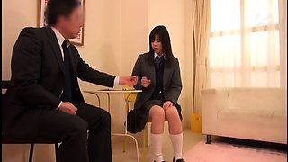 Sweet Japanese schoolgirl is eager to take on a hard shaft