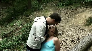 Slave teen tied in the forest and fucked in domination