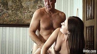 Old English teacher fucks his student, she swallows cum