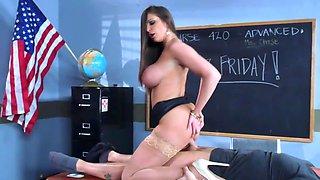 Lucky stud fucks full-bosomed teacher Brooklyn Chase in stockings