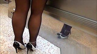 Exhibitionist wife upskirt in supermarket