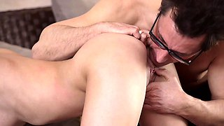 OLD4K. Cutie opens pussy for old daddy when he returns...