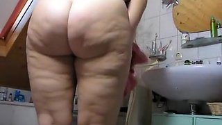 Big ass wife in bathroom