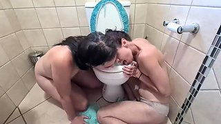 Two Titles Sluts Licking The Toilet Seat Clean After They Both Got Messy Piss Facials