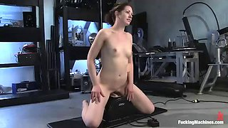 horny brunette cums with fucking machines