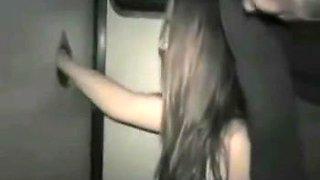 girl sucking 2 Old Dicks in Sex Shop Cabin