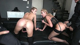 Teen school girl with nice pigtails takes a part in crazy foursome