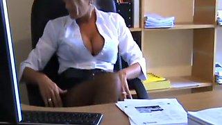 Sexy secretary legs stockings heels