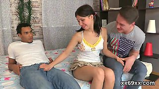 Fellow assists with erotic check-up and plowing of virgin nympho