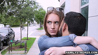 Step uncle fucks pretty babe Daisy Stone and ejaculates in her wide open mouth