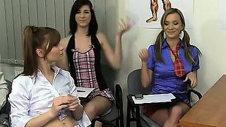 5 angry and bossy schoolgirls humiliate their teacher