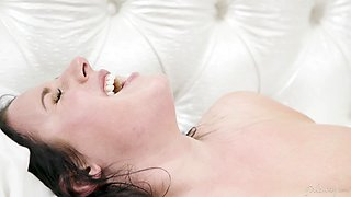 Busty lesbian Angela White is finger fucking and licking wet pussy