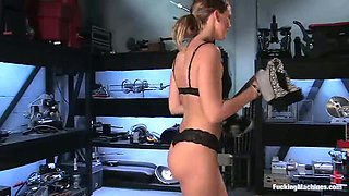 Gorgeous Alex Hussy gets her pussy toyed by machines