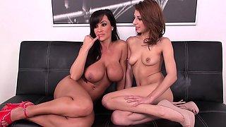 Busty milf Lisa seduces Lexi for a wild lesbian romance on the couch