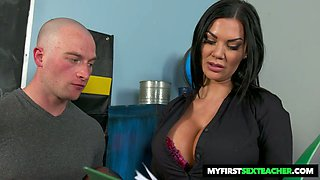 Giant breasted brunette Jasmine Jae loves being fucked missionary on table