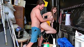 Repairman gives his big ramrod to teen all-natural nympho